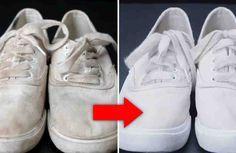 Zapatos blancos como unas zapatillas de deporte o zapatillas de tenis blancas se ven muy bien, pero mantenerlos limpios puede ser un desafío. Pero con este truco genial podrás dejar los zapatos blancos sucios como nuevos una vez más con facilidad.  Lo que necesita: + bicarbonato sódico, + agua o