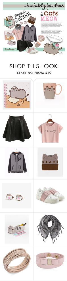 """""""#PVxPusheen"""" by quicherz on Polyvore featuring Pusheen, Pilot, Valentino, Love Quotes Scarves, Swarovski, Salvatore Ferragamo, contestentry and PVxPusheen"""