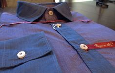 Poggianti purple shirt with blue contrast from Gotstyle Menswear $265.
