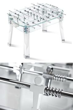 Teckell Foosball  Most of us don't want our home to look like a bar but if it felt like a bar, that would be cool, right? A handmade Italian glass and stainless foosball table from Teckell will do it. You'll easily be able to maintain your home's formal setting while opening it up to some good old-fashioned beer hall foos.