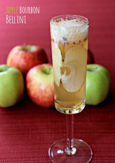 This isn't your average Bellini - it's kicked up with homemade apple puree and a shot of bourbon. www.mantitlement.com