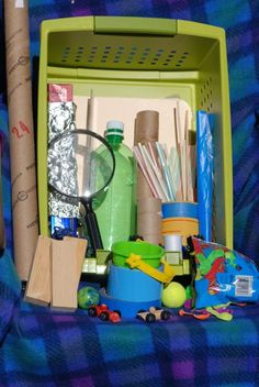 Suggested items to put together a hands-on physical sciences activity box for kids to do informal science this summer.