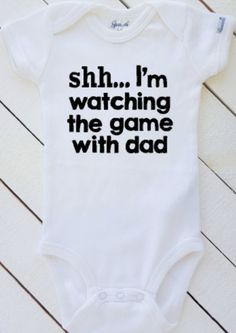 Funny Baby Bodysuit Shh...Im watching the game by HenryAndTaylor
