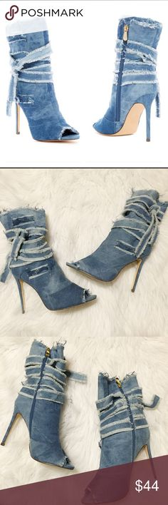 """Distressed denim heeled booties Details -Open toe - Distressed denim construction - Wraparound tie detail - Side zip closure - Lightly padded insole - Covered stiletto heel - Approx. 4.25"""" heel New in Box Shoes Ankle Boots & Booties"""