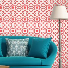 Moroccan Trellis Allover Wall Stencil Liliane for DIY Modern Wall decor in Crafts, Art Supplies, Decorative & Tole Painting Painted Concrete Floors, Painting Concrete, Stained Concrete, Stencil Fabric, Stencils, Wall Stenciling, Stencil Painting, Tole Painting, Moroccan Decor