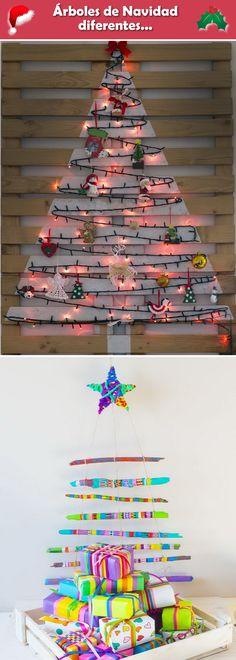 Ideas para árboles de Navidad diferentes... Árboles de Navidad alternativos. Ideas para decorar la Navidad sin árbol.