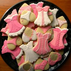 cookies - corsets and underwear.  Also need champagne and mini stars.  Light pink/gold