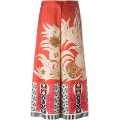 Etro floral print culottes ($915) ❤ liked on Polyvore featuring pants, capris, red, red pants, floral pants, red silk pants, colorful pants and silk pants