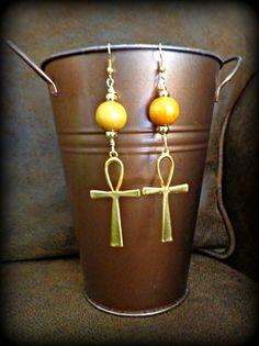 Gold Ankh Dangle Earrings Egyptian Earrings by KheperaAdornments