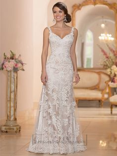 Elegant Straps Sheath Lace Over Wedding Dress with Low Back