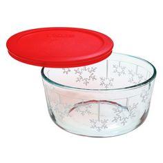 Pyrex® Storage Plus 4 Cup Snowflake Dish w/ Red Lid