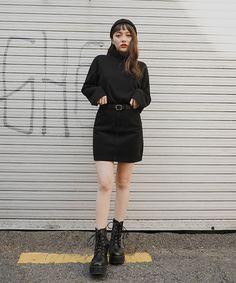 All Black Fashion, Look Fashion, Korean Fashion, Fashion Outfits, Korean Style, Leather Skirt, Cool Outfits, Skirts, Clothes