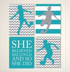 cool Soccer room decor, soccer girl wall art, girls wall art, teen girls art, girls motivational art, girls bedroom, sports art, Set of 4 prints by http://www.top100-home-decor-pics.club/girl-room-decor/soccer-room-decor-soccer-girl-wall-art-girls-wall-art-teen-girls-art-girls-motivational-art-girls-bedroom-sports-art-set-of-4-prints/