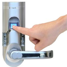 iTouchless Bio-Matic Fingerprint Door Lock For Right Hand Door, Silver. With fingerprint recognition technology, you can easily give your children or other family members access to your home without needing to worry about them losing the keys. Home Technology, Technology Gadgets, Business Technology, Technology Articles, Futuristic Technology, Energy Technology, Latest Technology, Gadgets And Gizmos, Tech Gadgets