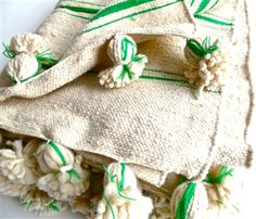 Moroccan Wool Green Striped Pom Pom Blanket