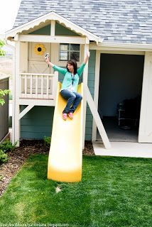 Idea: playhouse balcony with slide off shed