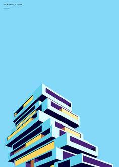 Si vous aimez l'architecture moderne et les courbes bien rectilignes, vous devriez être fan de la série de posters Idea! Zarvos réalisée par le designer Henrique Foster, originaire de Sao Paulo. Idea! Zarvos est en fait une grande compagnie brésilienne qui conçoit de magnifiques bâtiments dans le style de ces posters un peu partout au Brésil. Dans une autre veine, nos amis brésiliens avaient également réalisé une série de posters sur les stades de la Coupe du Monde. Sur le même thème