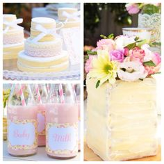 Gorgeous baby shower on Kara's Party Ideas KarasPartyIdeas.com Love the layered mini cakes and floral garden / pastel theme!