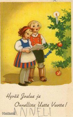 Martta Wendelin Childrens Christmas, Merry Little Christmas, Christmas Past, Holiday Tree, Retro Christmas, Christmas Card Pictures, Christmas Pictures, Vintage Cards, Vintage Postcards