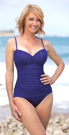 Slimming One-Piece Bathing Suits For Moms -love this. Wish the strings were halter style though.