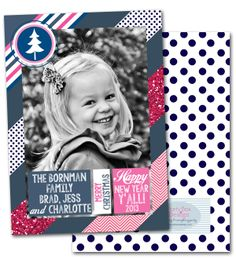holiday photo cards, preppy photo cards, modern christmas cards, polka dots, chevron, glitter via Party Box Design