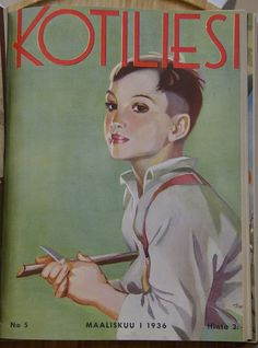 Kotiliesi magazine cover by Martta Wendelin, 1936 Vintage Magazines, Vintage Postcards, Finnish Women, Old Commercials, Pretty Drawings, 23 November, Old Art, Travel Posters, Martini