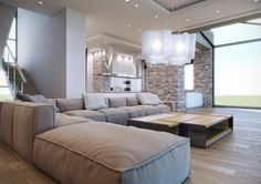 Soft neutral palette, large modular sofa and textured stone wall