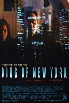 King of New York is a movie starring Christopher Walken, David Caruso, and Laurence Fishburne. A drug kingpin is released from prison and seeks to take total control of the criminal underworld in order to give back to the community. David Caruso, Classic Movie Posters, Film Posters, Classic Movies, New York Poster, Steve Buscemi, See Movie, Movie List, Little Italy