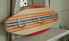 18 inch SURFBOARD HOOK RACK for towels clothes keys . Orange Red Navy  Hawaiian Surf Wall Decor.150 Designs and 3 sizes. wow