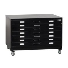Save On Discount Bieffe BF Line Flat File, 7 Drawers with Metal Top, Base with Wheels, Black & More at Utrecht