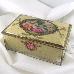 "Antique Biscuits Tin with ""Pastoral"" image by Boucher on Lid,"