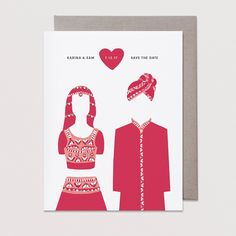 Indian wedding bride & groom save the dates! Made by Badal