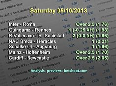 Saturday's picks are up!  Inter - Roma Over 2.5 (1.76) Guingamp - Rennes 1 (-0.25 AH) (1.98) Rayo Vallecano - Real Sociedad 2 (0:0 AH) (1.86) NAC Breda - Heracles 1 (2.21) Schalke 04 - Augsburg 1 (1.96) Mainz - Hoffenheim Over 2.5 (1.70) Cardiff - Newcastle Over 2.5 (2.05)  Good luck!  For more information and analysis of our picks, visit our homepage: http://www.betshoot.com/