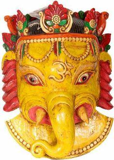 Angry Ganesha Mask - Wood Sculpture by Exotic India. $795.00. Dimensions: 25.5 inch X 18.3 inch X 9.0 inch Hindu Statues & Sculptures: Shiva Linga, Nataraja & Ganesha Statue Wood Sculpture