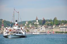 steamboat Stadt Luzern in Lucerne 2011 Steamboats, Lucerne, San Francisco Skyline, Switzerland, New York Skyline, Spaces, Country, City, Travel