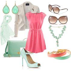 pink and aqua,