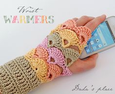 Dada's place: Crochet wrist warmers Actual pattern is found here: http://www.garnstudio.com/lang/us/pattern.php?id=3723