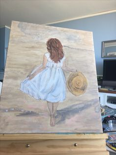 My latest painting girl on beach part way through