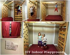 DIY Indoor Jungle Gym: complete with monkey bars, pallet ladder, rock climbing and trampoline mattress! The possibilities are endless.