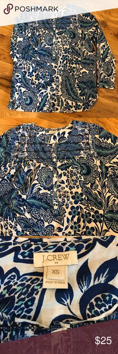 J.Crew embroidered popover Excellent condition. Love this top. Buttons half way down. Embroidered around neck. J. Crew Tops Blouses
