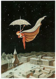 Illustration - Rudolf Koivu, 1940 Rudolf Koivu was Finnish artist, who mainly illustrated fairy tales. Art And Illustration, Christmas Illustration, Book Illustrations, Inspiration Art, Umbrella Art, Photo D Art, Fairytale Art, Illustrators, Fantasy Art