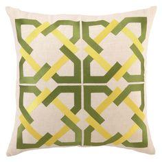 Trina Turk Geometric Green/Yellow Embroidered Pillow @Zinc_Door