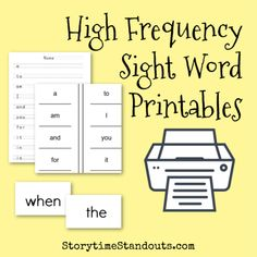 Sight Word Printables and Resources for Home and School