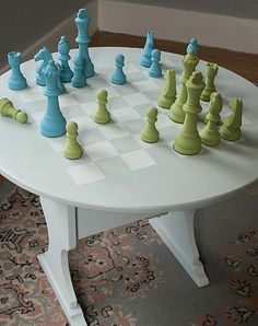 Chess Table & Game Pieces using Americana Decor Chalky Finish paint
