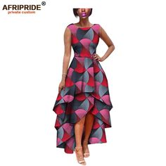 African Custom Sleeveless Dress- 100% pure wax cotton - Women's Clothing