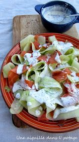Cucumber tagliatelle with smoked salmon - Cuisine - Raw Food Recipes Raw Food Recipes, Salad Recipes, Healthy Recipes, Chicken Recipes, Healthy Cooking, Healthy Eating, Vegetarian Cooking, Salty Foods, Smoking Recipes