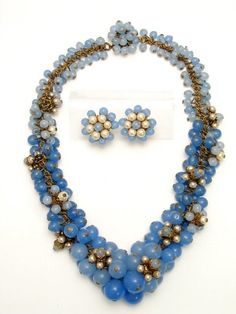 Miriam Haskell Frank Hess Blue Glass Demi Parure