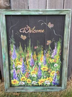 Welcome wild flowershand painted window screen by RebecaFlottArts Painted Window Screens, Window Screen Crafts, Old Window Frames, Window Art, Window Ideas, Antique Windows, Old Windows, Vintage Windows, Recycled Windows