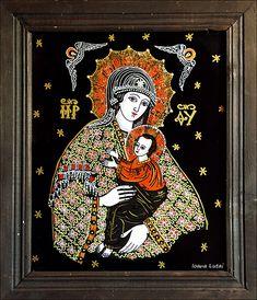 Maica Domnului cu Pruncul - Icoane pe sticla Sapanta - Ioana Lutai - foto Cristina Nichitus Roncea Cool Jesus, Jesus Art, Madonna And Child, Orthodox Icons, Sacred Art, Ikon, Painted Rocks, Contemporary Art, Christian