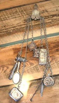 Victorian Silver Chatelaine FOB Whistle, Vesta, Watch, Measuring Tape, Charms #Unbranded
